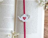 beauty and the beast bookmark, teapot art, teapot charm, teapot gifts, teapot handmade, teapot red, teapot vintage, tea lover gift, mosaic