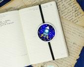 Elastic bookmarks, space shuttle decor, handmade bookmarks, teacher gifts bookmarks, astronomy bookmark, planet glitter, planet charm silver