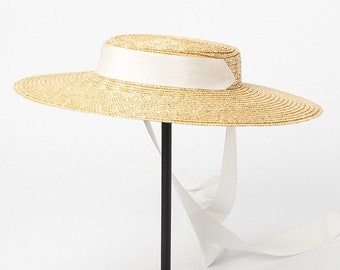 05b4a7f0b Natural Wheat Straw Hat Flat Women Summer White Black Ribbon Tie Sun Hat  Beach
