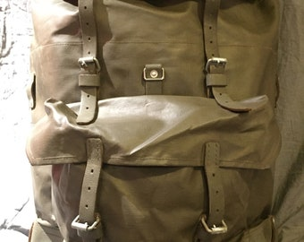 a9cdf1055 Vintage 1970s-80s Swiss Army Military Rucksack Backpack, Waterproof  Rubberized Canvas and Leather Straps and Accessories