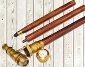 antique brass telescope hidden roman clock on top with wooden walking stick cane in 3 fold