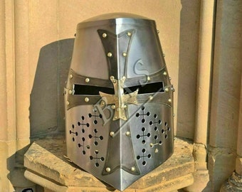 eaecbac709e1a 18 ga fully functional new templor crusader sugarloaf knight medieval  replica wearable helmet solid steel with inner leather liner