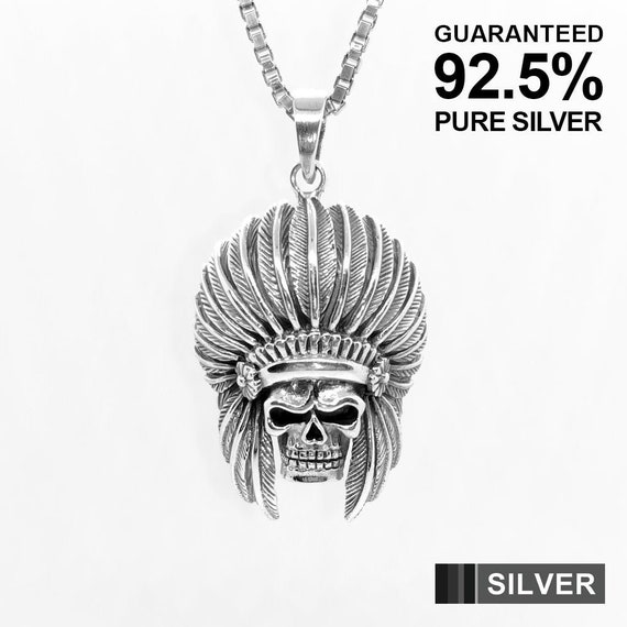 925 Sterling Silver Indian Chief Charm Made in USA