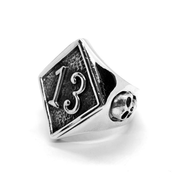 show original title Details about  /Rockabilly Ring Lucky 13 with Skull Skull 925 Silver thirteen lucky charm