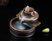 Backflow Incense Burner Ceramic Cone Waterfall Incense Holder Smoke Incense Fountain Home Smudge Bowl Meditation Altar Kit Supplies