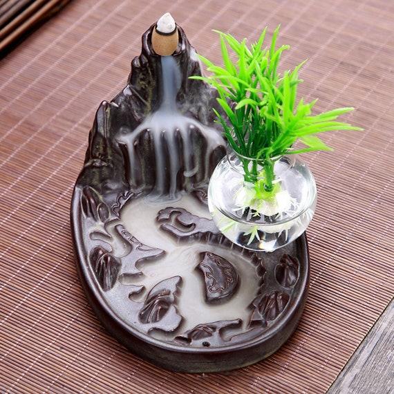 Ceramic Backflow Incense Cone Burner Mountain Waterfall 094 /& 10pcs Cone Gift