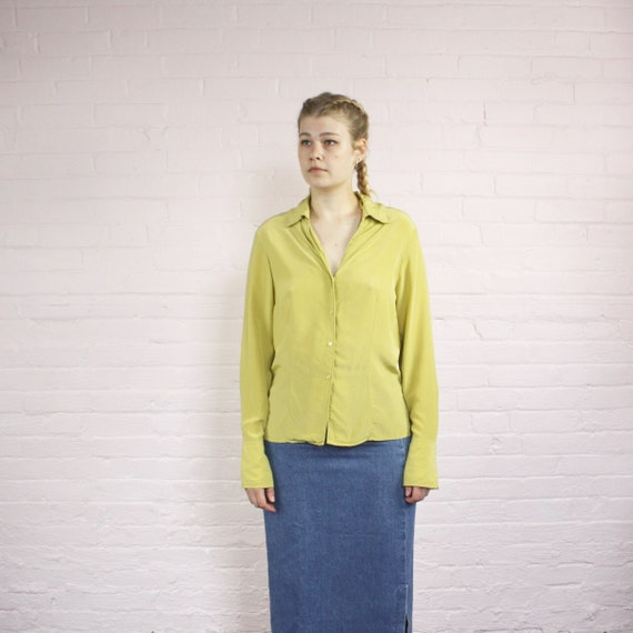 pure silk pistachio long sleeve collared blouse ·