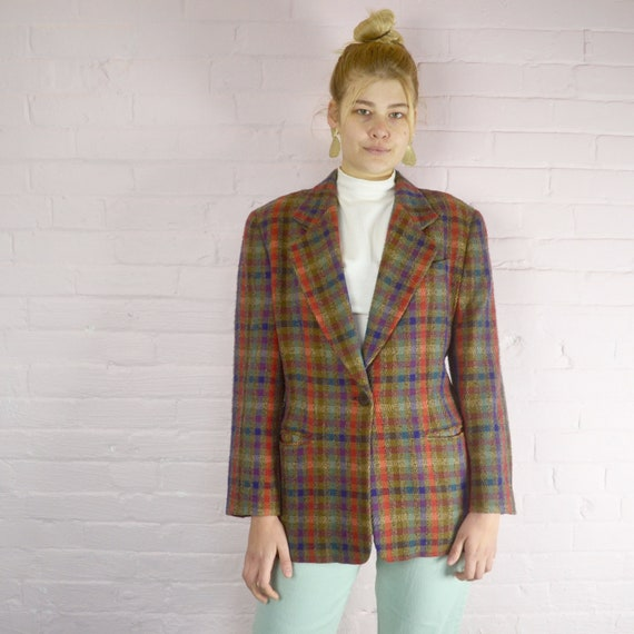 missoni donna colorful wool checked blazer · boxy