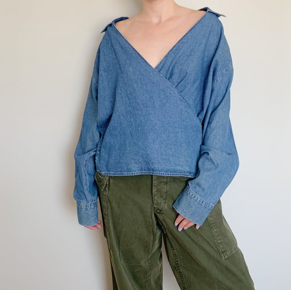 lightweight medium wash denim chambray wrap top ·
