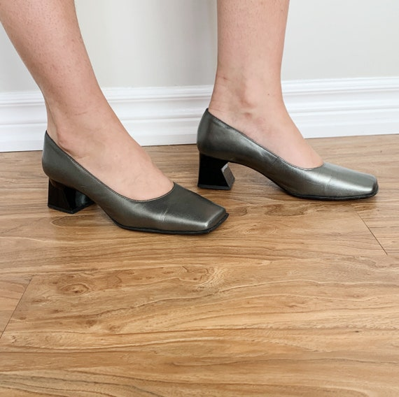 90s square toe leather pumps · silver metallic hee