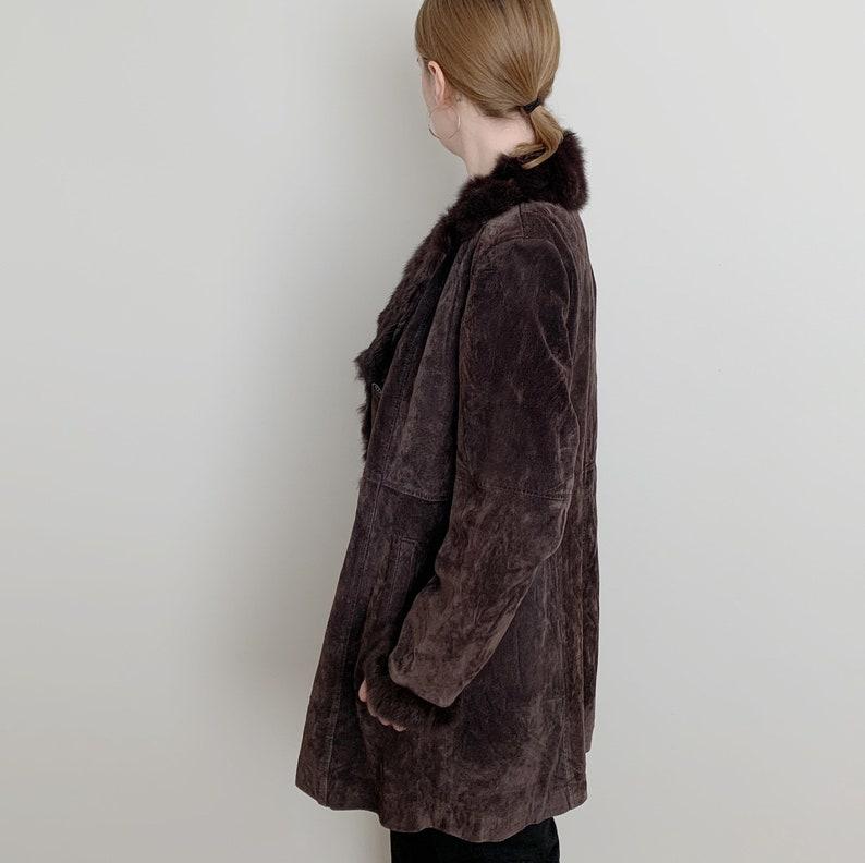 brown suede jacket with rabbit fur trim \u00b7 brown leather trench coat \u00b7 vintage fur trim jacket \u00b7 womens overcoat \u00b7 long fur jacket \u00b7 small