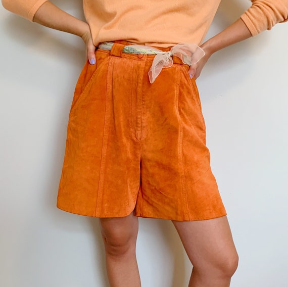 danier fire orange suede structured shorts · colou