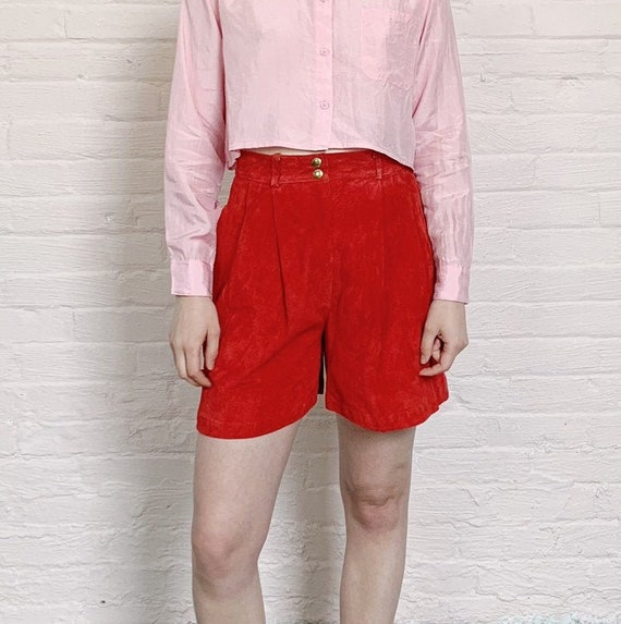red highwaisted suede shorts · eighties leather sh