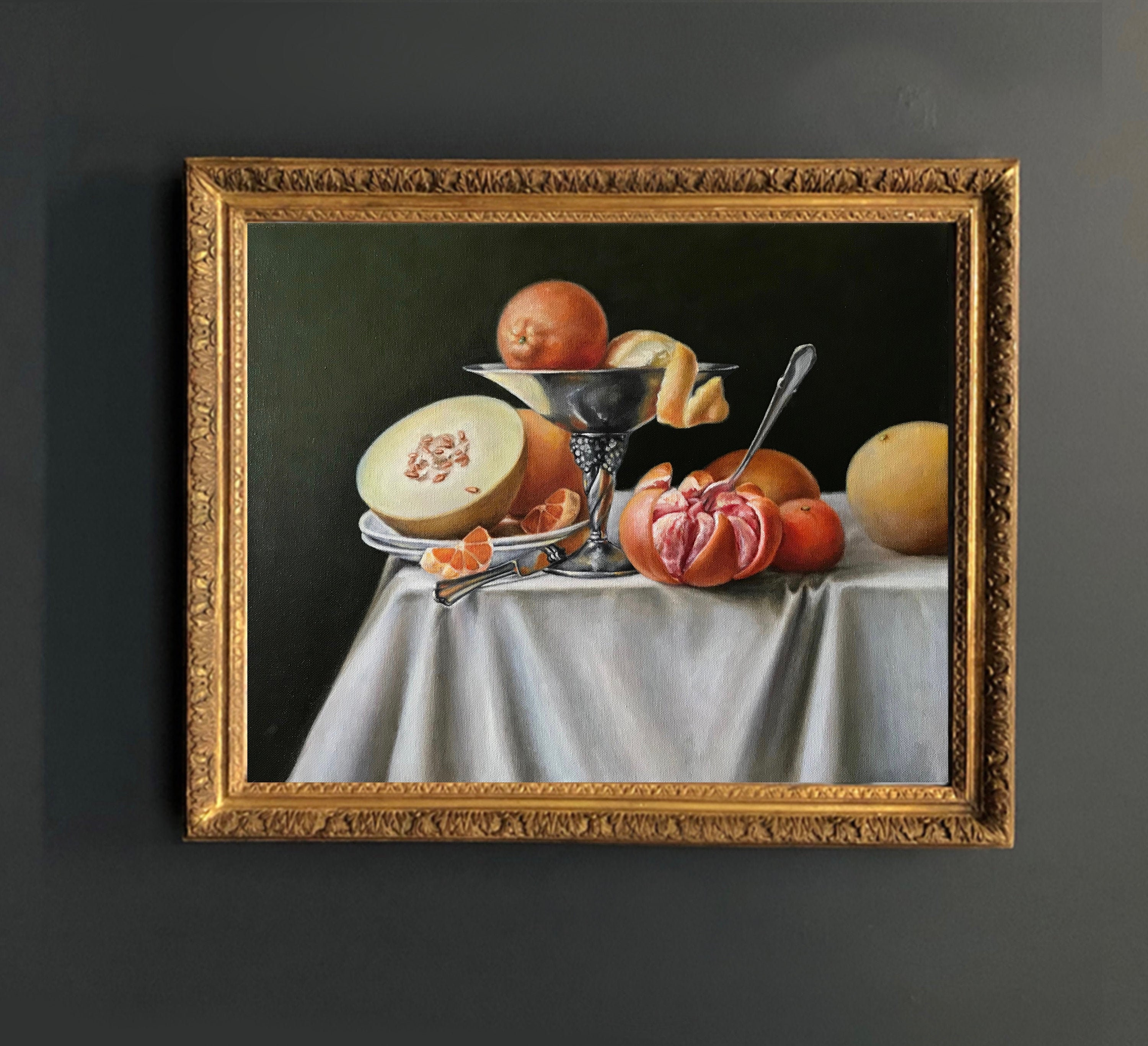 Small oil painting for kitchen Spoon painting Russian painting still life
