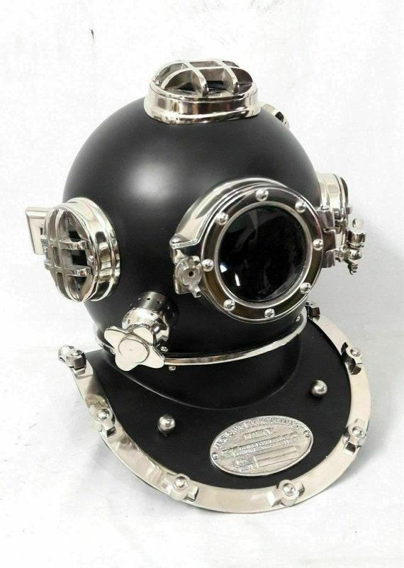 Vintage Brass Diving Divers Helmet Solid Steel US Navy Mark V Full Size Scuba