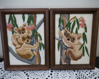 Vintage set of Finished Framed Koala Bears Needlepoint Crewel Embroidery