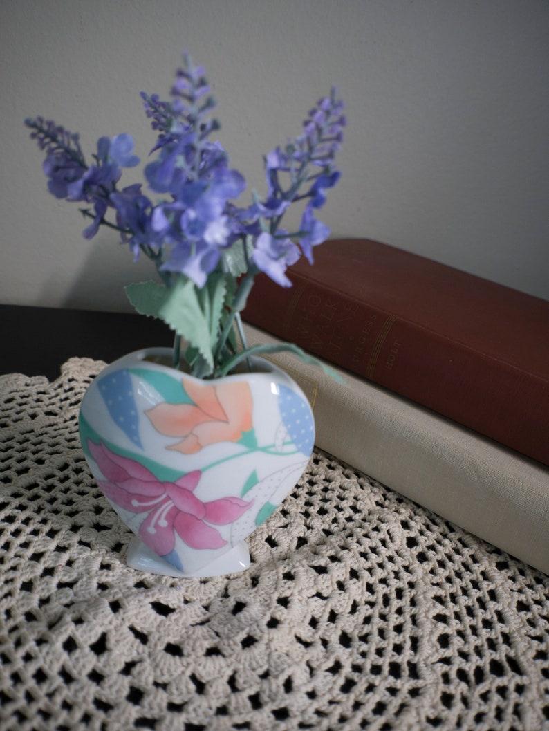 Made in Japan Porcelain Heart Vase Vintage Heart Vase Floral Heart Vase Valentines Vase Heart with Flowers Vase