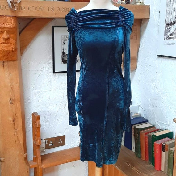 Midnight Blue Velvet Dress