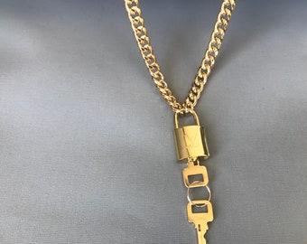 776223c9112f1 Louis vuitton lock necklace | Etsy