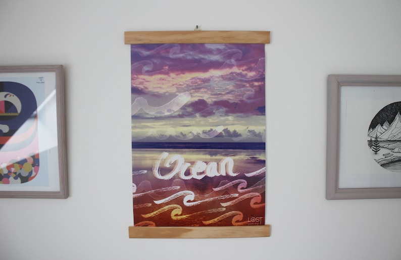 Printed photographic A3 poster of a modern decorative ocean image 0