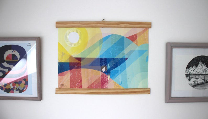 A3 poster in landscape format on surf colorful illustration image 0