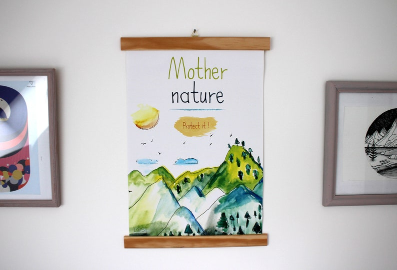Poster A3 watercolor illustration mountain and environment image 0