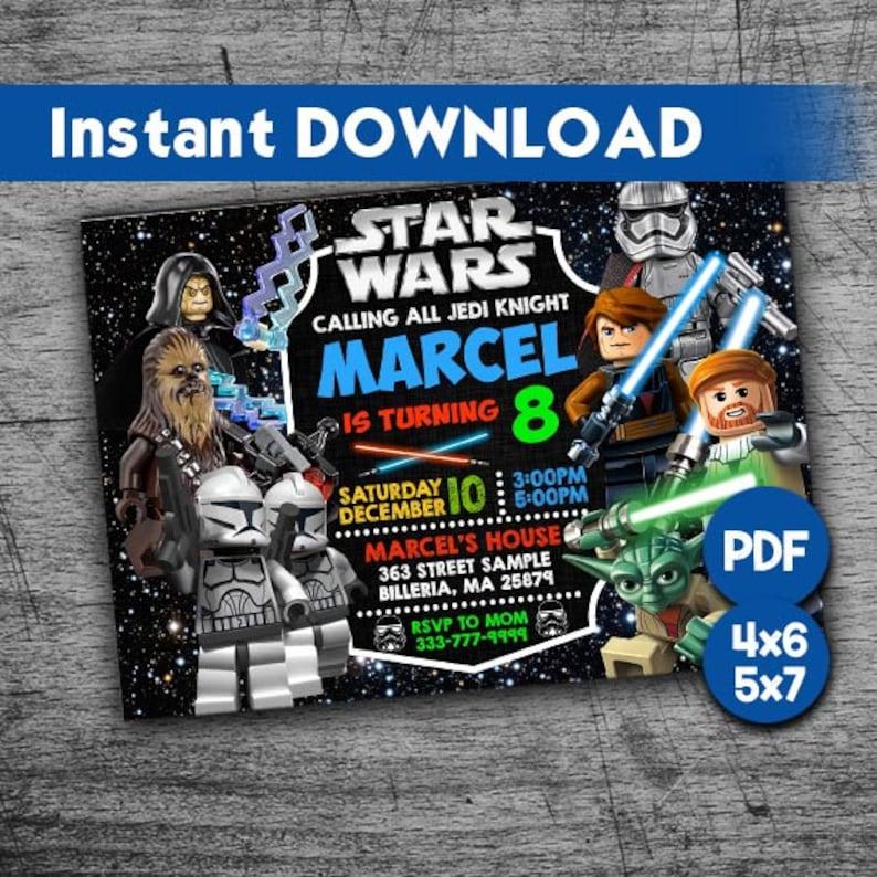 Lego Star Wars Invitation Star Wars Birthday Star Wars Party Star Wars Birthday Invitations Star Wars Invite Star Wars Printable