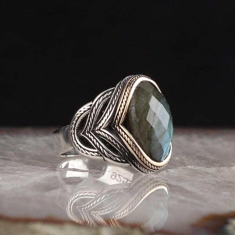 Sterling Silver Ring 925 Sterling Silver Labradorite Stone Men\u2019s Ring