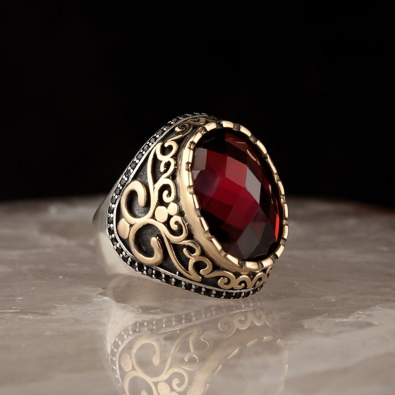 925 Sterling Silver Gold Plated Zircon Stone Men\u2019s Ring Sterling Silver Ring