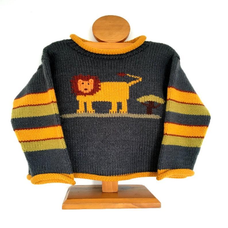 Alpaca wool jumper Grey knit pullover Lion Children Jumper Lion knitted jumper Boy kids jumper Unisex jumper Toddler sweater
