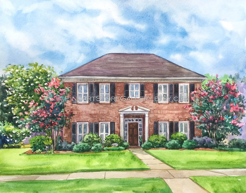 Custom House Portrait watercolor Painting Home housewarming gift painting family heirloom house sketch Gift for Parents Mothers Day gift