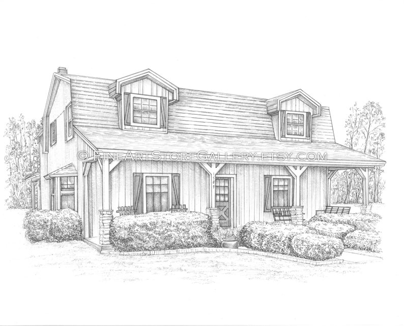Christmas House Drawing.Custom House Drawing Home Drawn House Portrait Hand Sketch Architectural Illustration Custom Portrait House Painting House Warming Gift