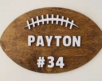 Choose from 18 Sizes Personalized Football with Name Wood Cut Out
