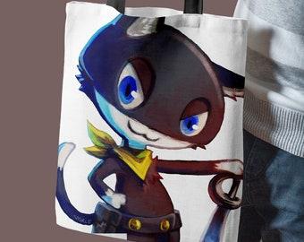 Morgana Persona 5 Cotton Tote Bag   cute cat totebag, persona 5 fan art, cotton shopper, game merchandise, gamer gift