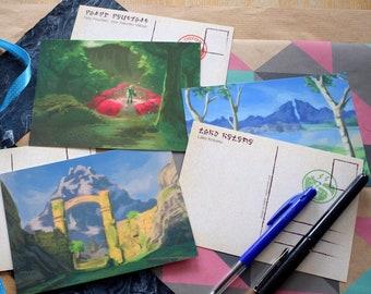 The Legend of Zelda Breath of the Wild: Postcards from Hyrule   botw postcard, video game fan art, landscape illustration, gamer gift