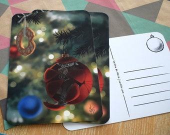 Christmas Ball Creature   funny christmas card, fantasy illustration, christmas stationery, cozy holiday card, illustrated christmas gift