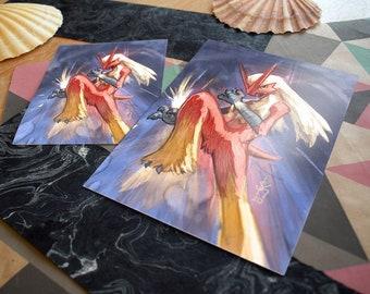 Blaziken Pokémon Prints   epic pokemon fan art, fire pokemon illustration, art print, gamer gift, wall art
