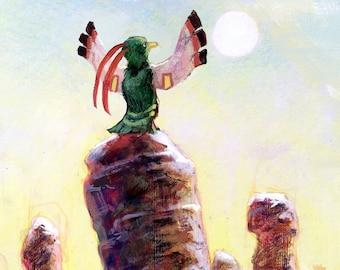 Xatu Pokémon Mystery Dungeon Art Prints   Epic Pokemon Fan Art, Red Blue Rescue Team, Gamer Gift, Landscape Wall Art