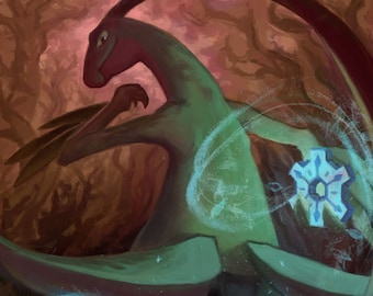 Grovyle the Time Gear Thief   pokemon mystery dungeon, epic pokemon fan art, explorers of sky, darkness, time, a5 art print, wall art