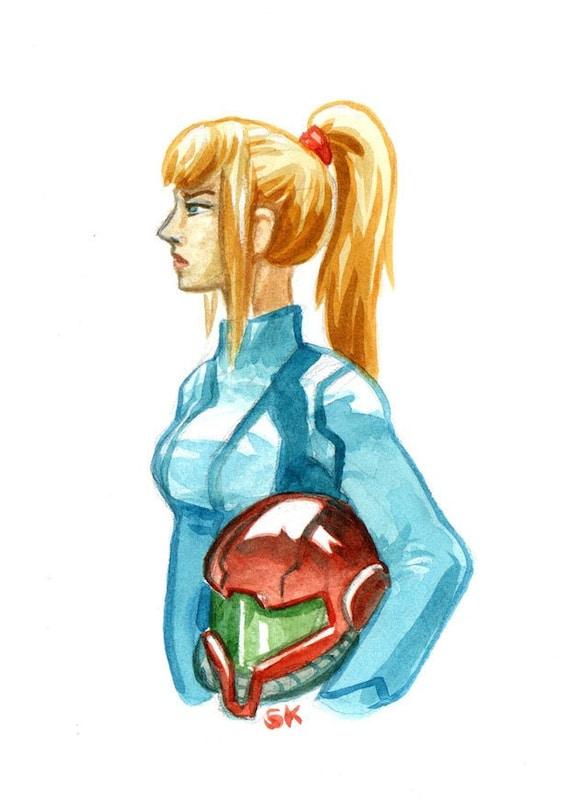 Zero Suit Samus Aran Metroid A6 Small Art Prints