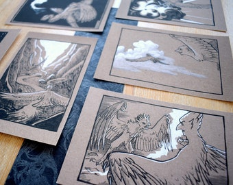 Harpy Art Prints   monster girl art, cute fantasy creature, mythical fantasy art, illustration prints, inktober art, one of a kind