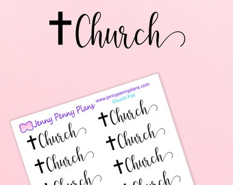 """Foiled """"Church"""" Planner Stickers on clear gloss sticker paper"""