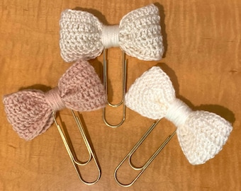Crocheted Bow Paperclip for Planner or  Bookmark
