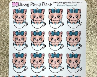 Paisley - Tea Cup Planner Stickers.