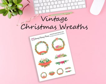 Vintage Christmas Wreaths, Planner Stickers.