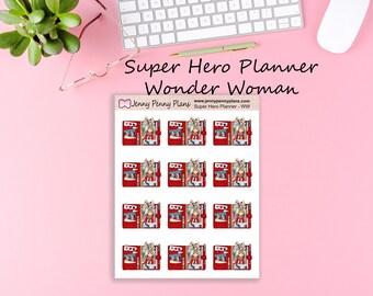 Super Hero Planner -Wonder Woman  stickers on premium matte