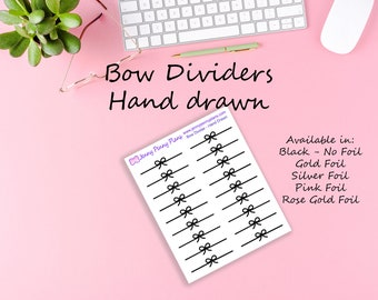 Bow Dividers - Hand Drawn Stickers on clear gloss sticker paper