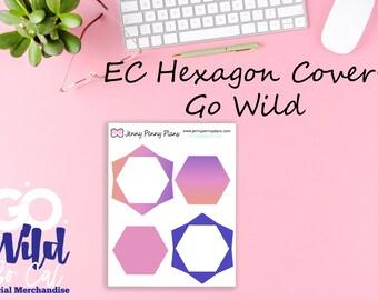 Go Wild, Hexagon Covers for Erin Condren planner, printed on premium matte sticker paper