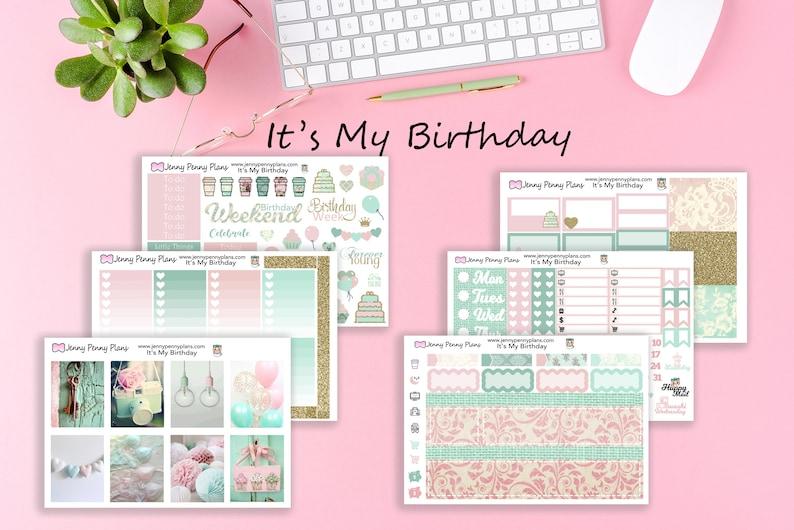 It's My Birthday  Planner Stickers on Premium Matte Full Kit - 6 Sheets