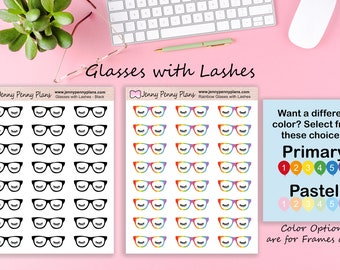 Glasses with Lashes stickers on premium matte